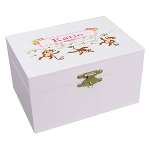 Personalized Ballerina Jewelry Box with Monkey Girl design