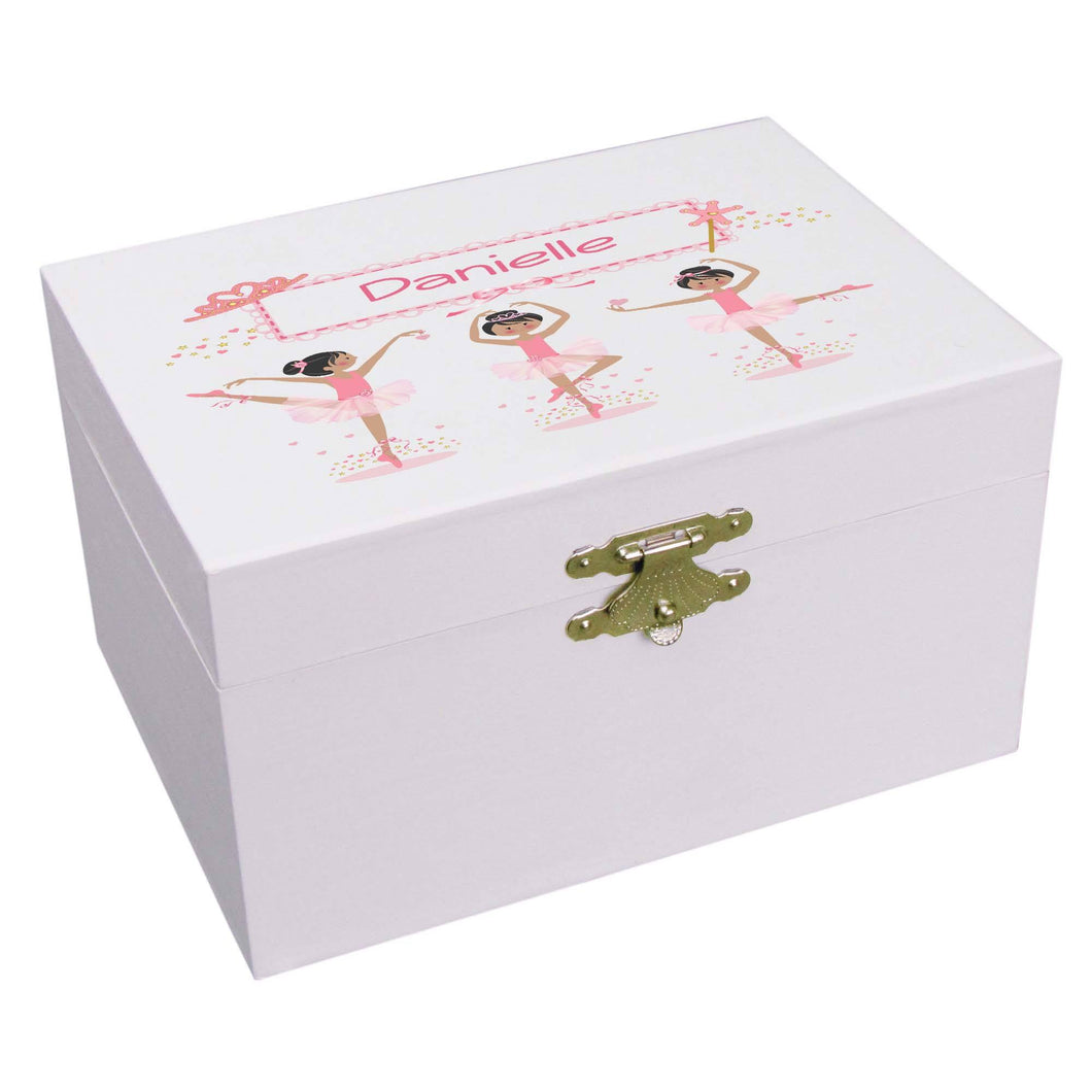 Personalized Ballerina Jewelry Box with Ballerina Black Hair design