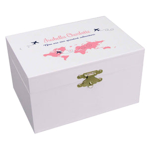 Personalized Ballerina Jewelry Box with World Map Pink design