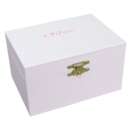 Girls musical ballerina jewelry box with name monogram