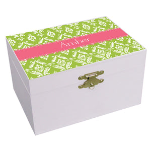Personalized Damask Green With Salmon Musical Ballerina Jewelry Box