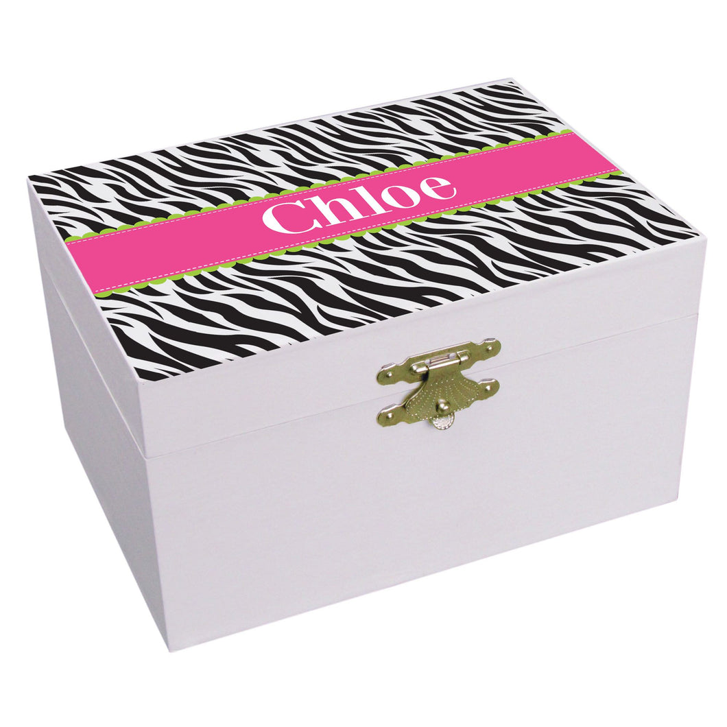 Personalized Groovy Zebra Musical Ballerina Jewelry Box