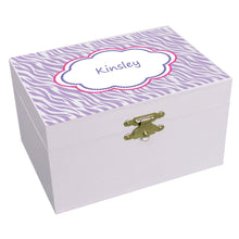 Personalized Lavender Zebra Musical Ballerina Jewelry Box