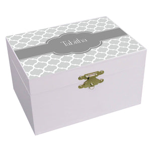 Personalized Moroccan Grays Musical Ballerina Jewelry Box