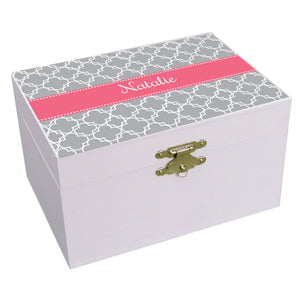 Personalized Tile Gray With Salmon Musical Ballerina Jewelry Box