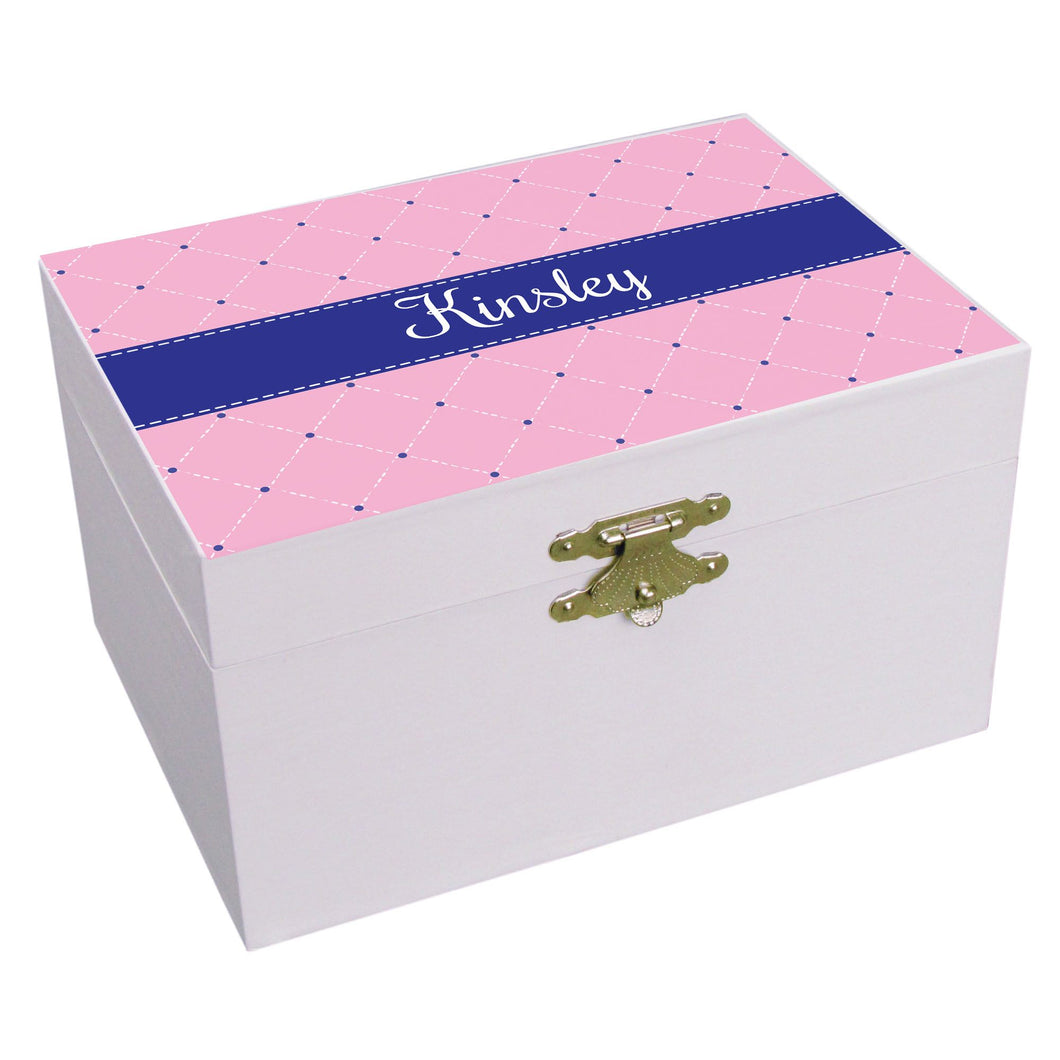 Personalized Quilting Pink With Navy Musical Ballerina Jewelry Box