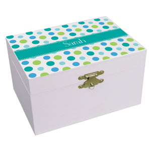 Personalized Tealsy Dots Musical Ballerina Jewelry Box
