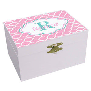 Personalized Morrocan Pink And Teal Musical Ballerina Jewelry Box