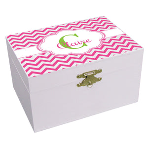 Personalized Pink Chevron Musical Ballerina Jewelry Box