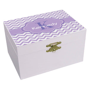 Personalized Chevron Purple Musical Ballerina Jewelry Box