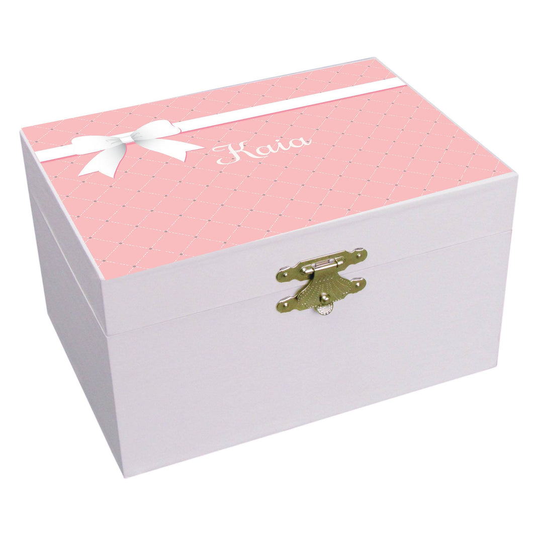 Personalized Ballerina Jewelry Box with Pink Bow design