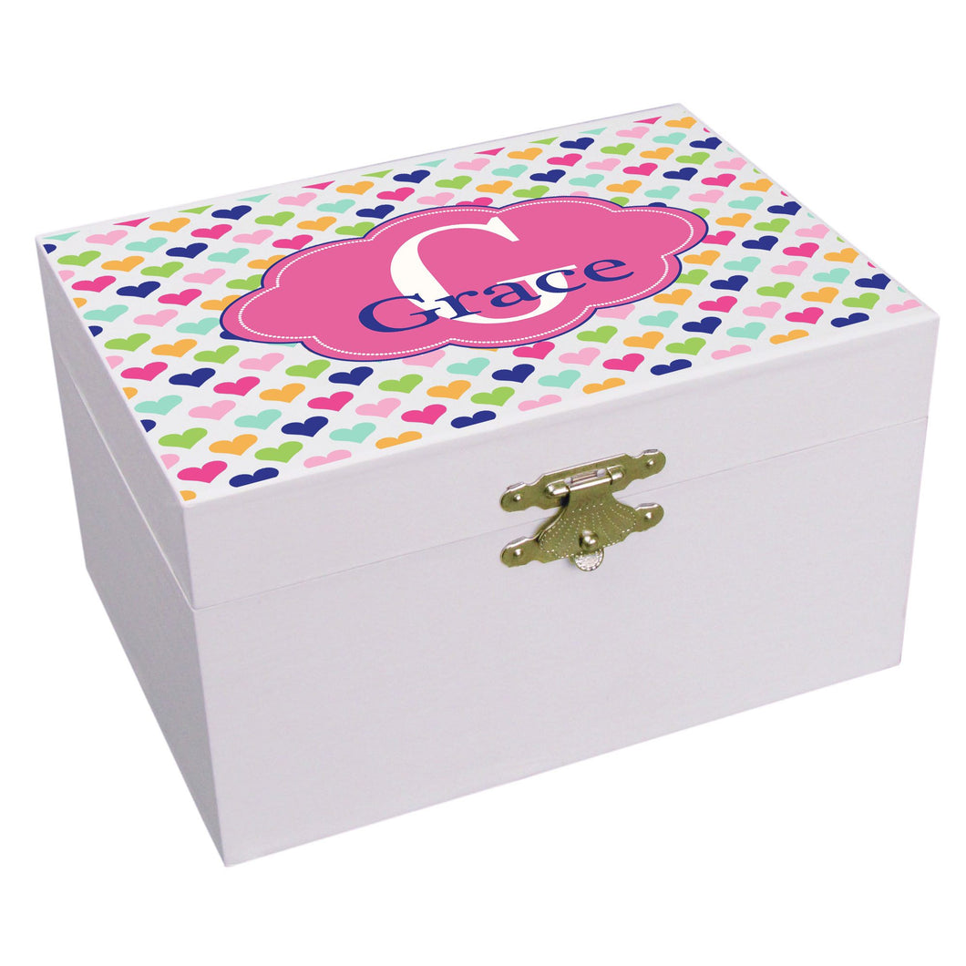 Personalized Sweet Hearts Musical Ballerina Jewelry Box
