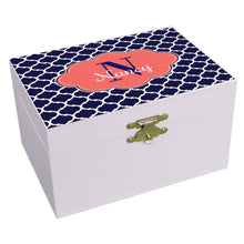 Personalized Navy Moroccan Coral Musical Ballerina Jewelry Box