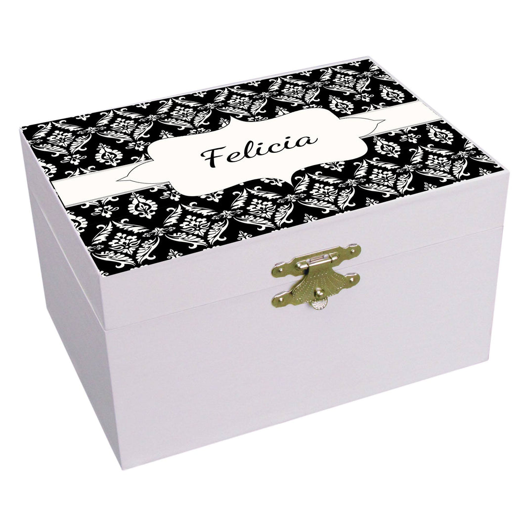 Personalized Black Damask Musical Ballerina Jewelry Box