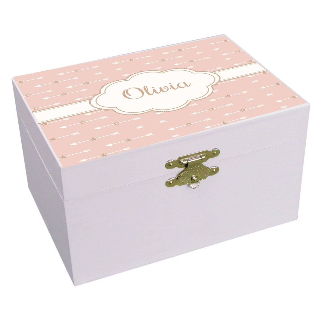 Personalized Blush Arrows Musical Ballerina Jewelry Box