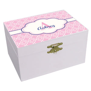 Personalized Pink Quatrefoil W Navy Musical Ballerina Jewelry Box