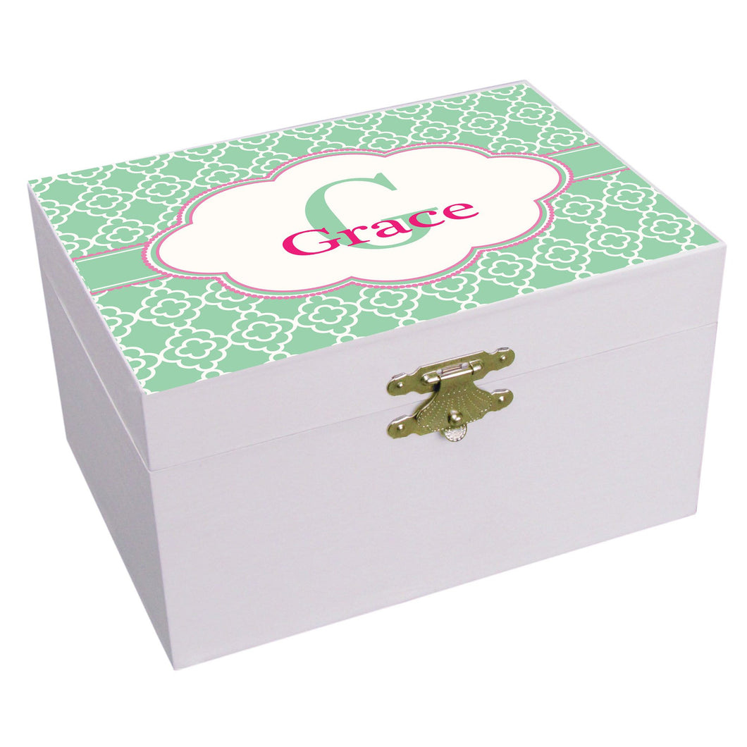 Personalized Mint Quatrefoil W Pink Musical Ballerina Jewelry Box