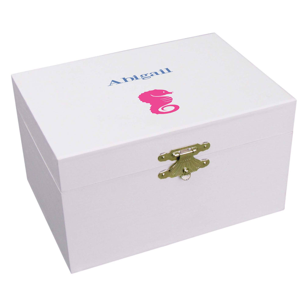 Personalized Ballerina Jewelry Box with Single Seahorse design