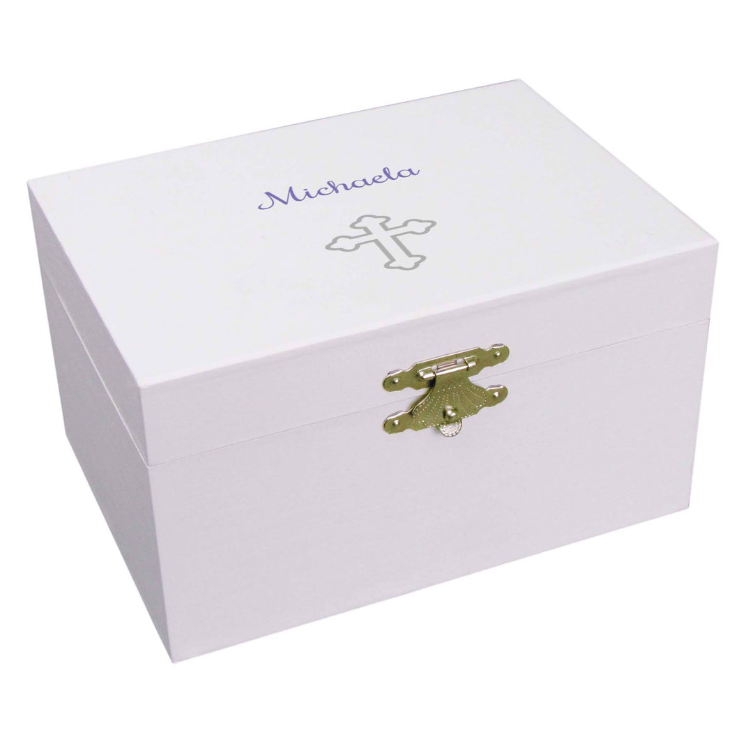 Personalized Ballerina Jewelry Box with Single Cross design