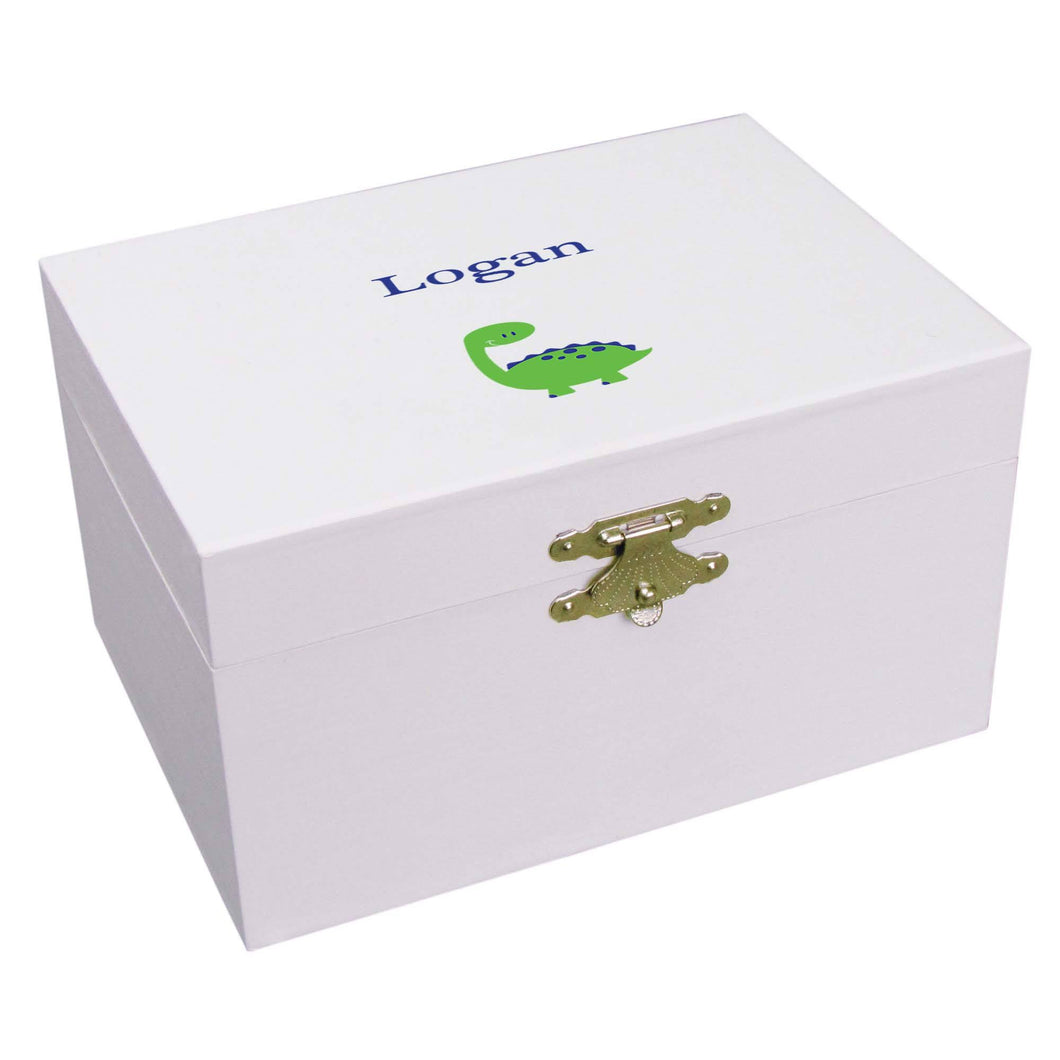 Personalized Ballerina Jewelry Box with Single Dinosaur design
