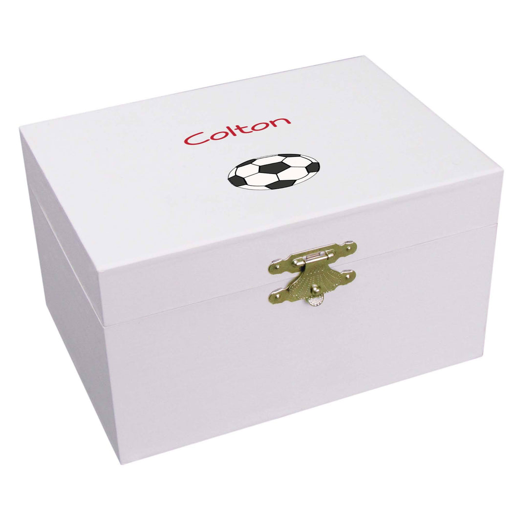 Personalized Ballerina Jewelry Box with Single Soccer design