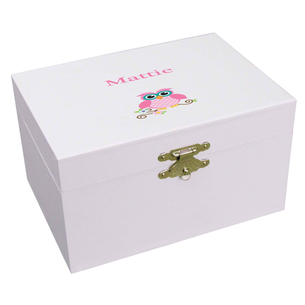 Personalized Ballerina Jewelry Box with Single Owl design