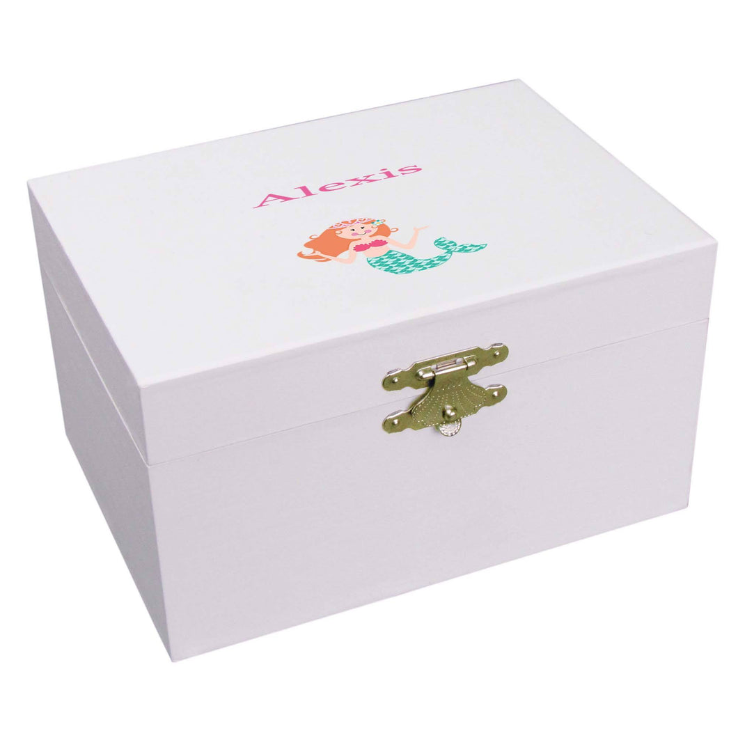 Personalized Ballerina Jewelry Box with Single Mermaid design