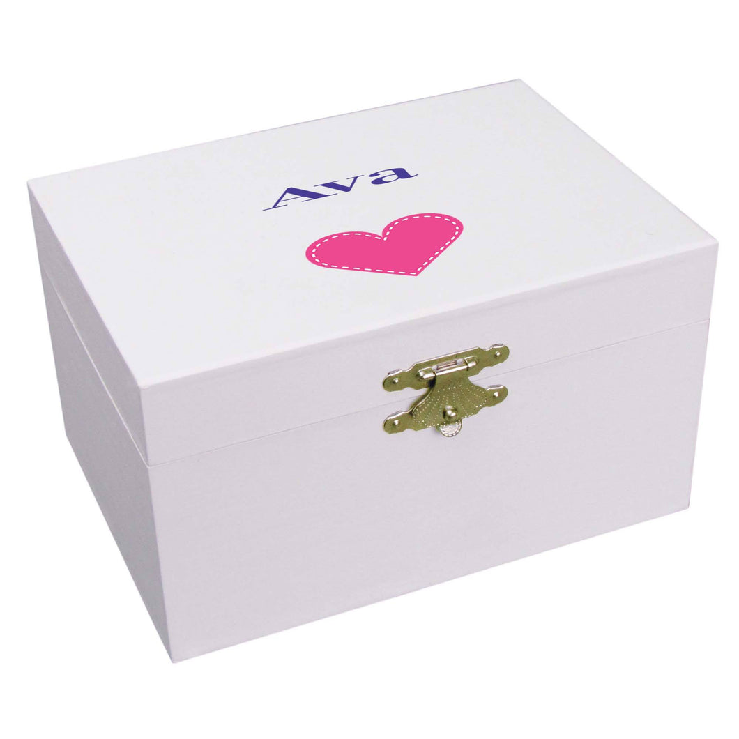 Personalized Ballerina Jewelry Box with Single Heart design
