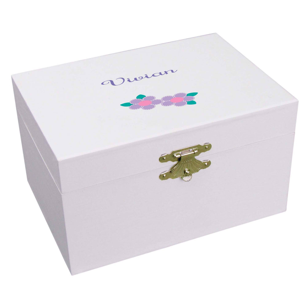 Personalized Ballerina Jewelry Box with Single Flower design