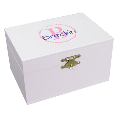 Personalized Pink monogram Musical Ballerina Jewelry Box