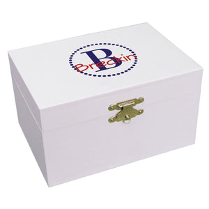 Personalized Navy blue monogram Musical Ballerina Jewelry Box