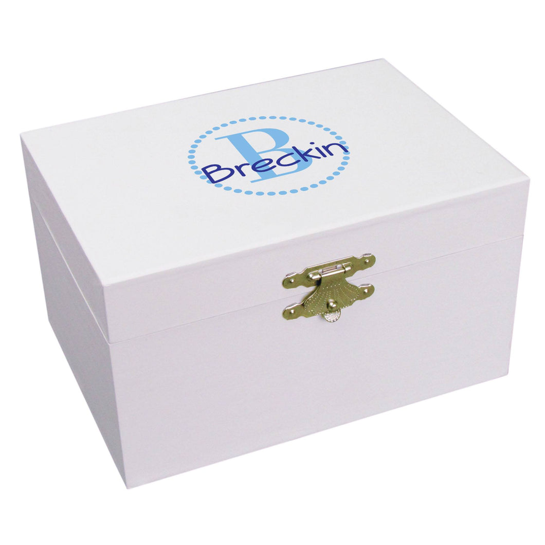Personalized Aqua monogram Musical Ballerina Jewelry Box