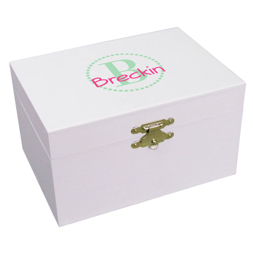 Personalized Mint monogram Musical Ballerina Jewelry Box