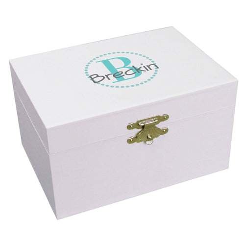 Personalized Teal monogram Musical Ballerina Jewelry Box