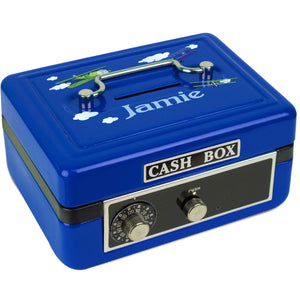 Personalized Airplane Childrens Blue Cash Box