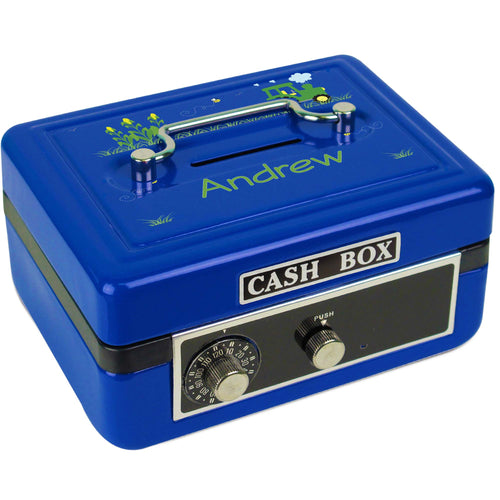 Personalized Green Tractor Childrens Blue Cash Box