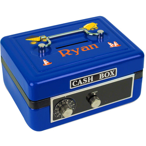Personalized Construction Childrens Blue Cash Box