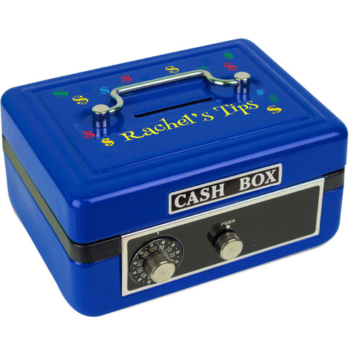 Personalized Blue Cash Box with Dollar Signs Primary design