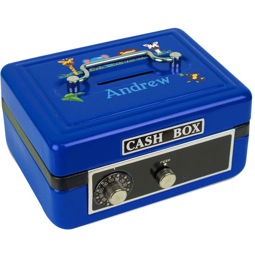 Personalized Jungle Animals Boy Childrens Blue Cash Box