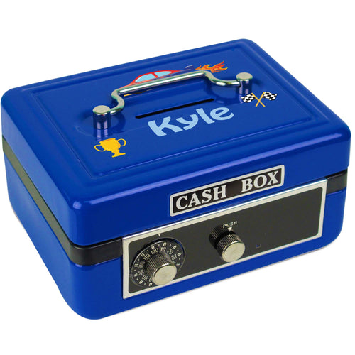 Personalized Race Cars Childrens Blue Cash Box