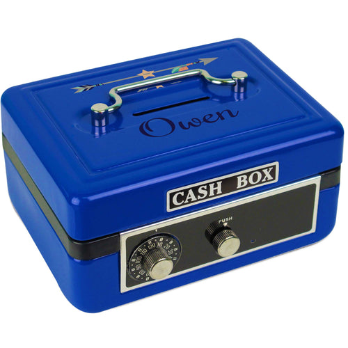 Personalized Tribal Arrows Boy Childrens Blue Cash Box