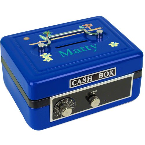 Personalized Surf's Up Childrens Blue Cash Box