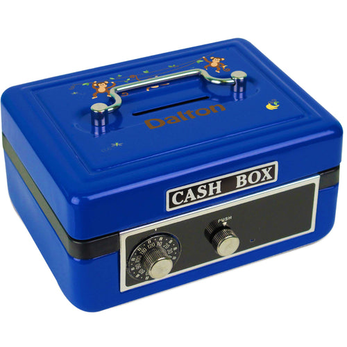 Personalized Monkey Boy Childrens Blue Cash Box