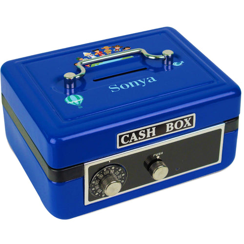 Personalized Small World Childrens Blue Cash Box