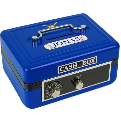 Personalized Baseball Childrens Blue Cash Box
