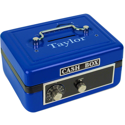 Personalized Blue Cash Box with Swim design