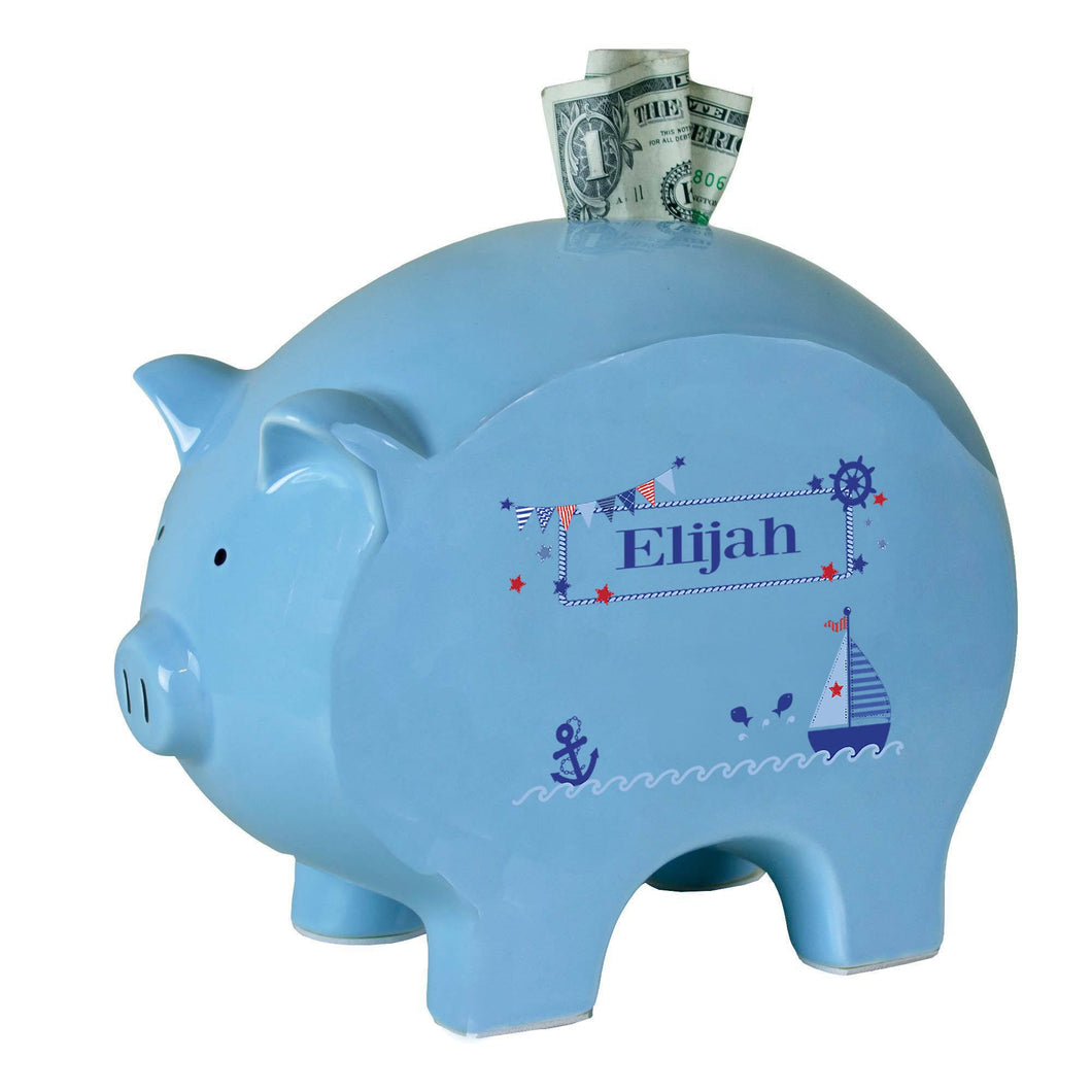 Personalized Blue Piggy Bank with Boys Sailboat design