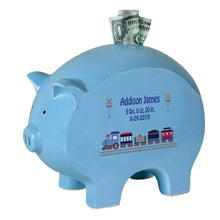 Personalized Blue Piggy Bank - Train