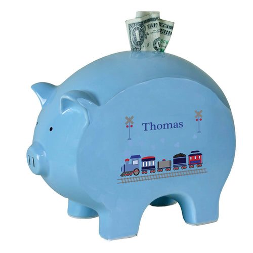Personalized Blue Piggy Bank with Train design