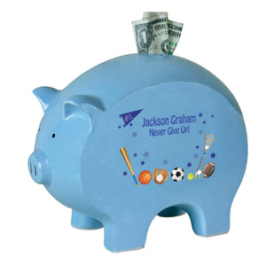 Personalized Blue Piggy Bank - Sports